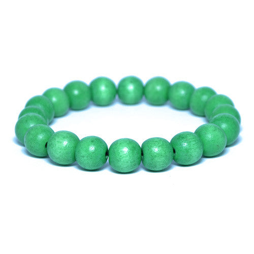 Men's Lime Green Wooden Bead Bracelet