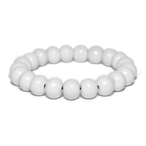 Men's White Bone Bead Bracelet