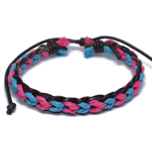 Pink and Blue Braided Surfer Bracelet