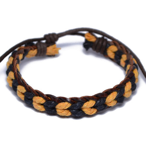 Men's Black and Brown Surfer Bracelet