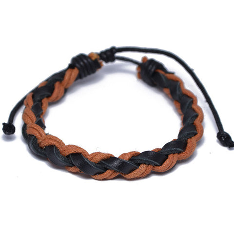 Black and Brown Braided Leather Bracelet