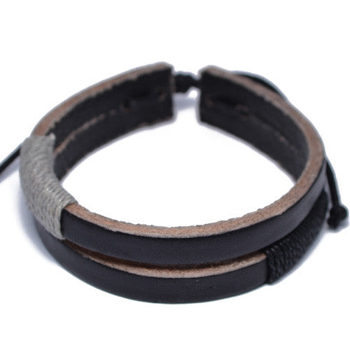 Men's Dual Strand Black Leather Bracelet