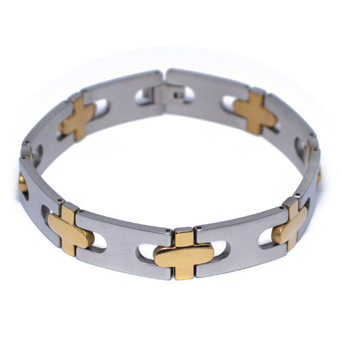 Two-Tone Stainless Steel Bracelet for Men