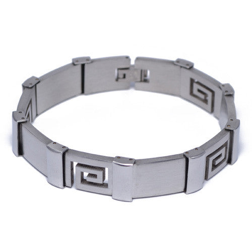 Men's Greek Design Stainless Steel Bracelet