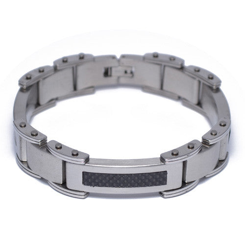 Men's Carbon Fiber Stainless Steel Bracelet