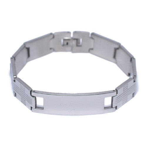 Men's Polished Stainless Steel ID Bracelet