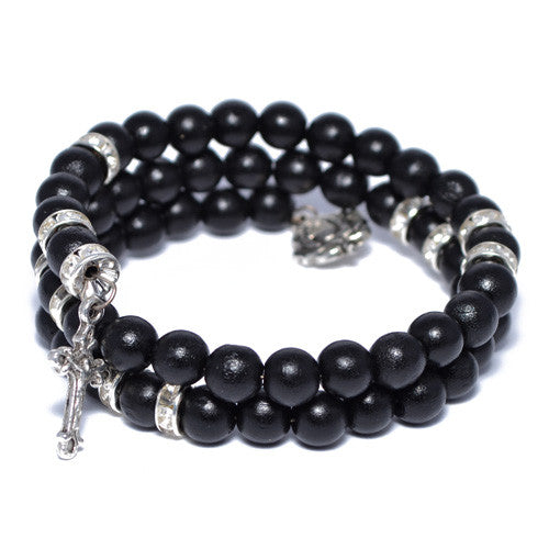 Men's Black Wood Bead Wrap Bracelet