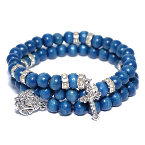 Men's Blue Wood Beaded Wrap Bracelet