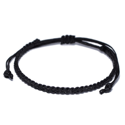 Black Cotton Buddhist Bracelet for Men