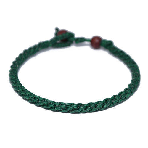 Men's Green Cotton Threaded Buddhist Bracelet