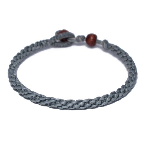 Men's Gray Cotton Threaded Buddhist Bracelet