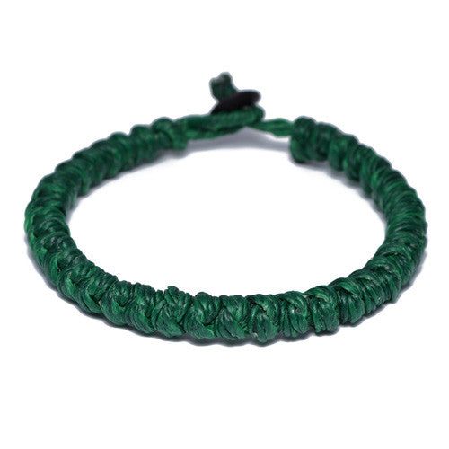 Green Wax Cotton Thread Buddhist Bracelet