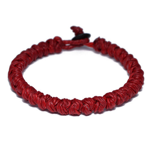 Red Wax Cotton Thread Buddhist Bracelet