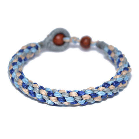 Men's Blue Multi-Colored Buddhist Bracelet