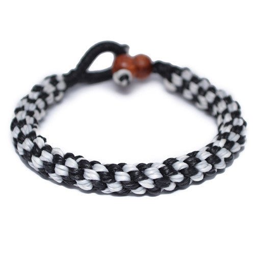 Black and White Buddhist Bracelet for Men