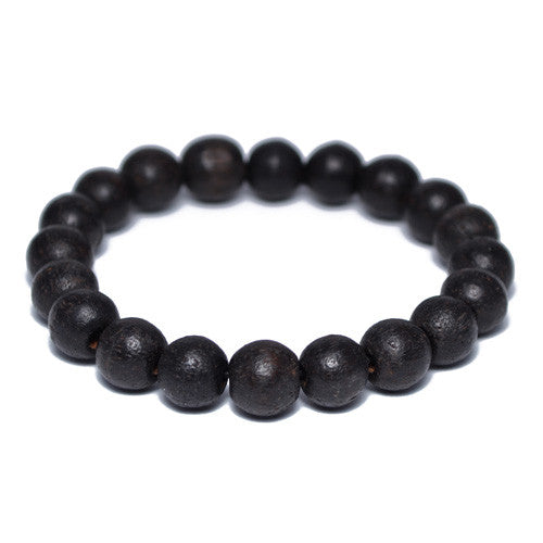 Black Wood Buddhist Bead Bracelet