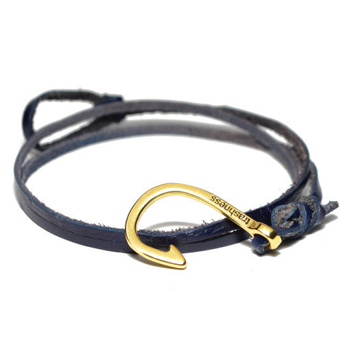 Men's Blue Leather Wrap Hook Bracelet
