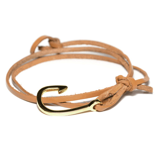 Men's Brown Leather Wrap Hook Bracelet