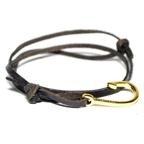 Men's Black Leather Wrap Hook Bracelet