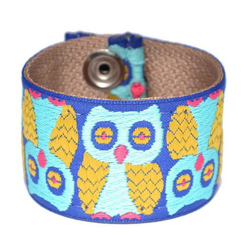 Men's Blue Owl Souldier Guitar Strap Cuff Bracelet