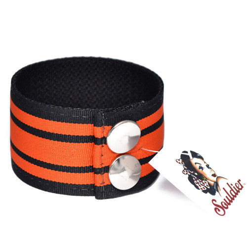 Souldier Mopar Black and Orange Striped Guitar Strap Cuff Bracelet
