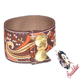 Souldier Gold and Brown Paisley Guitar Strap Cuff Bracelet