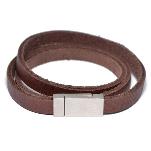 Men's Brown Leather Wrap Bracelet
