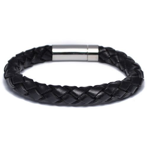 Men's Black Braided Leather Bracelet
