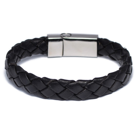 Men's Wide Braided Black Leather Bracelet