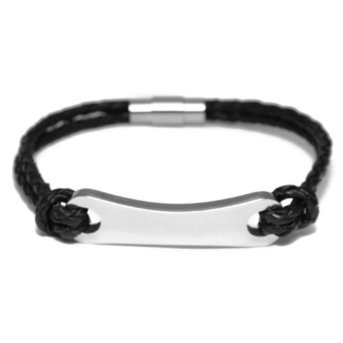 Braided Black Leather ID Bracelet