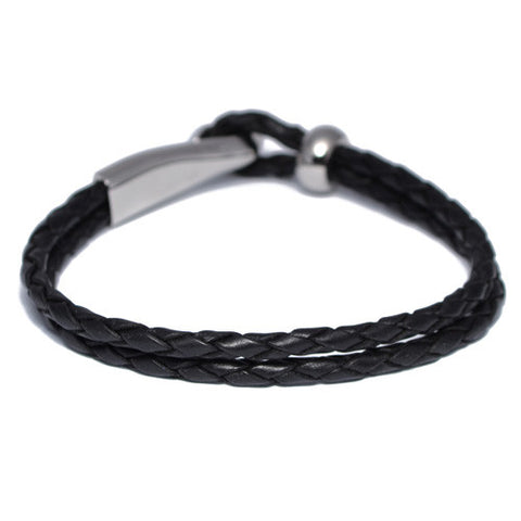 Men's Braided Black Leather Hook Bracelet