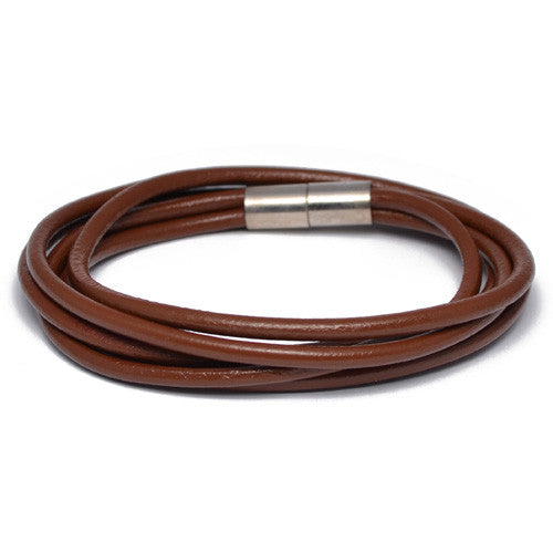 Men's Multi Cord Brown Leather Bracelet