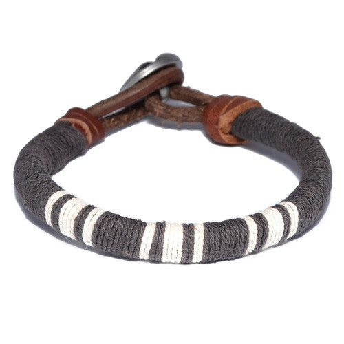 Dark Brown Threaded Leather Bracelet
