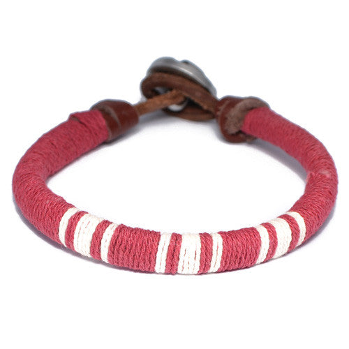 Red and White Threaded Leather Bracelet