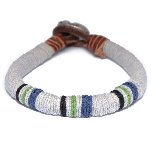 Light Blue Threaded Dark Leather Bracelet