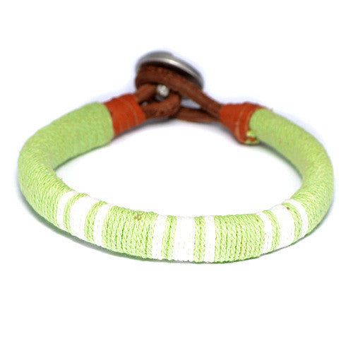 Men's Lime Green Threaded Leather Bracelet
