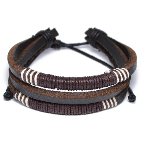 Men's Dark Brown Threaded Leather Bracelet