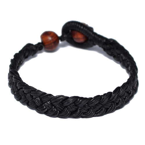 Black Cotton Braided Buddhist Bracelet for Men