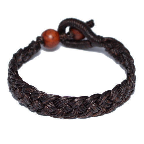 Men's Brown Cotton Braided Buddhist Bracelet