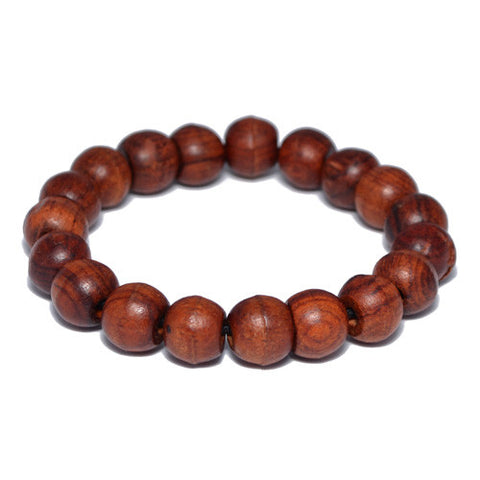 11mm Natural Wood Buddhist Bead Bracelet