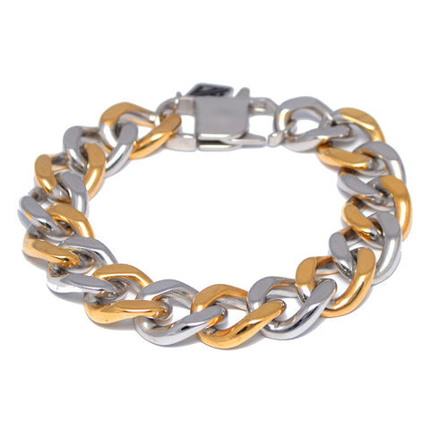Han Cholo Thick Two-Tone Curb Link Chain Bracelet