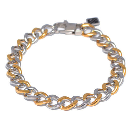 Han Cholo Thin Two-Tone Curb Link Chain Bracelet