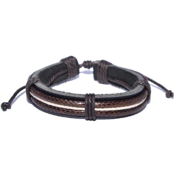 Men's Braided Real Leather Rope Strand Bracelet