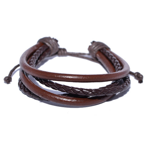 Brown Braided Leather and Leather Cord Mutli-strand Bracelet