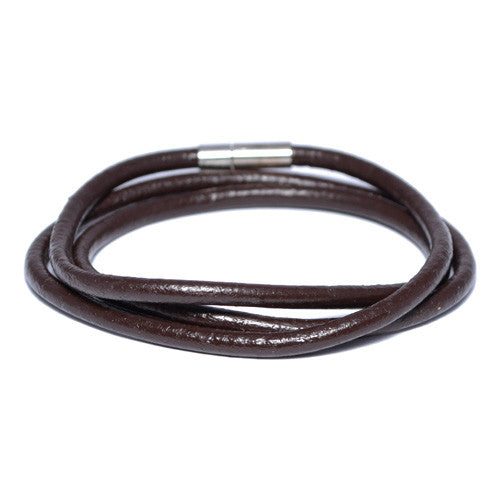 Brown Leather Wrap Bracelet for Men
