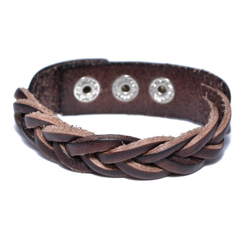 Men's Braided Brown Leather Bracelet