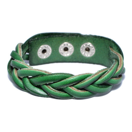 Men's Braided Green Leather Bracelet