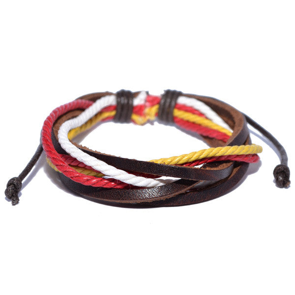 Men's Leather Multi-Colored Bracelet