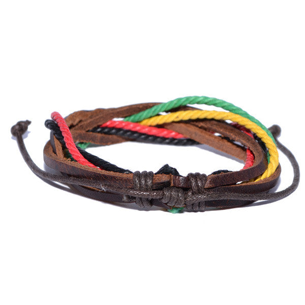 Men's Leather Rasta-Colored Bracelet
