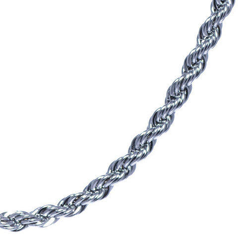 Men's 4mm Silver Plated Rope Chain Necklace